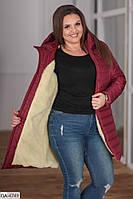 Зимнее теплое пальто стеганное подкладка овчина размеры 48-58 арт 076