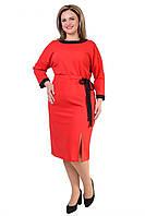 Элегантное платье в красном цвете выполнено из ткани трикотаж креп-дайвинг