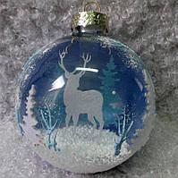 """Новогодний декор из стекла 85 мм """"Олени в лесу"""", фото 1"""