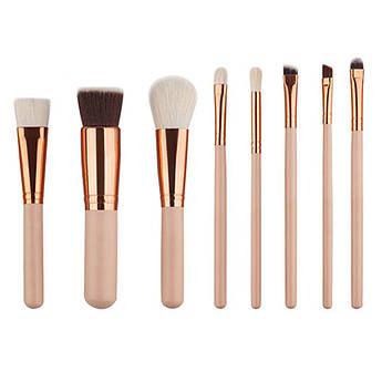 Набор из 8 профессиональных кистей для макияжа глаз и лица GUJHUI Розовое золото