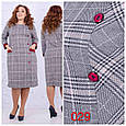 Платье женское модное стильная клетка размер 50-56 батал купить оптом со склада 7км Одесса, фото 4