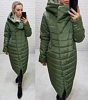 Куртка зимняя тёплая, есть большие размеры, арт 180, зелёного цвета / цвет хаки