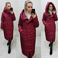 Куртка зимняя тёплая, есть большие размеры, арт 180, бордового цвета / цвет бордо