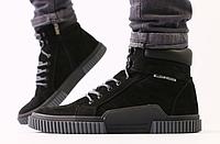 Ботинки зимние мужские черные из нубука, фото 1
