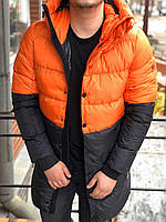 😜 Пуховик - мужская зимняя куртка-пуховик черный с оранжевым