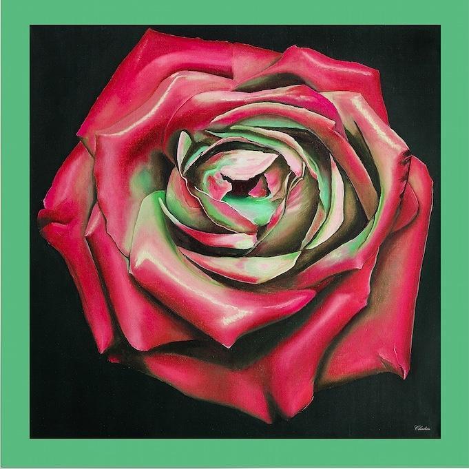 """Платок шелковый  Chadrin """"Ночная роза"""" красный"""