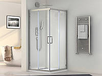 Кабина душевая квадратная 1902100 (100х100х190)/ стекло прозрачное/ профиль алюминиевый хромированный