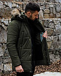 😜 Пуховик - мужская зимняя куртка-пуховик цвета хаки, фото 5