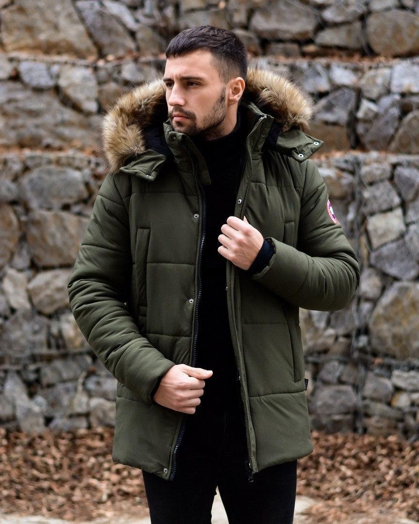 😜 Пуховик - мужская зимняя куртка-пуховик цвета хаки