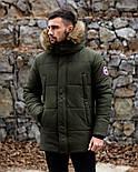😜 Пуховик - мужская зимняя куртка-пуховик цвета хаки, фото 6