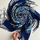 Финифть 341-14, павлопосадский платок (шаль) из уплотненной шерсти с шелковой вязанной бахромой, фото 6
