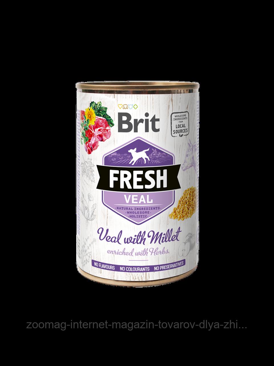 """Вологий корм Brit Fresh Veal with Millet """"Телятина з пшоном"""" 8/6,5 (для дорослих собак), 400 гр"""