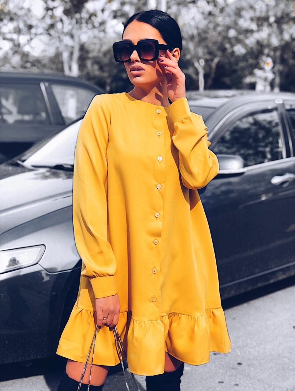 Платье женское стильное горчица, бежевый, фреза, лиловый