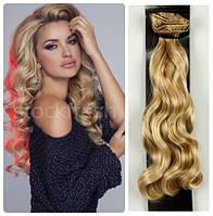 Волосы трессы на заколках ТЕРМО 7 прядей №27/613  волна золотистый блонд длина 40см
