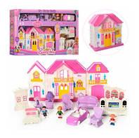 Кукольный домик WD-922 (3 фигурки, мебель, машинка)