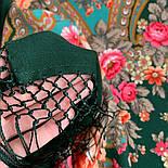 Финифть 341-29, павлопосадский платок (шаль) из уплотненной шерсти с шелковой вязанной бахромой, фото 4