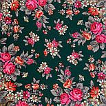 Финифть 341-29, павлопосадский платок (шаль) из уплотненной шерсти с шелковой вязанной бахромой, фото 6