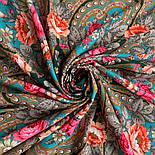 Финифть 341-29, павлопосадский платок (шаль) из уплотненной шерсти с шелковой вязанной бахромой, фото 8