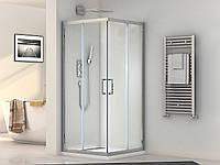 Кабина душевая квадратная 1902810 (80х100х190)/ стекло прозрачное/ профиль алюминиевый хромированный