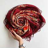 Финифть 341-6, павлопосадский платок (шаль) из уплотненной шерсти с шелковой вязанной бахромой, фото 9