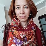 Финифть 341-6, павлопосадский платок (шаль) из уплотненной шерсти с шелковой вязанной бахромой, фото 4
