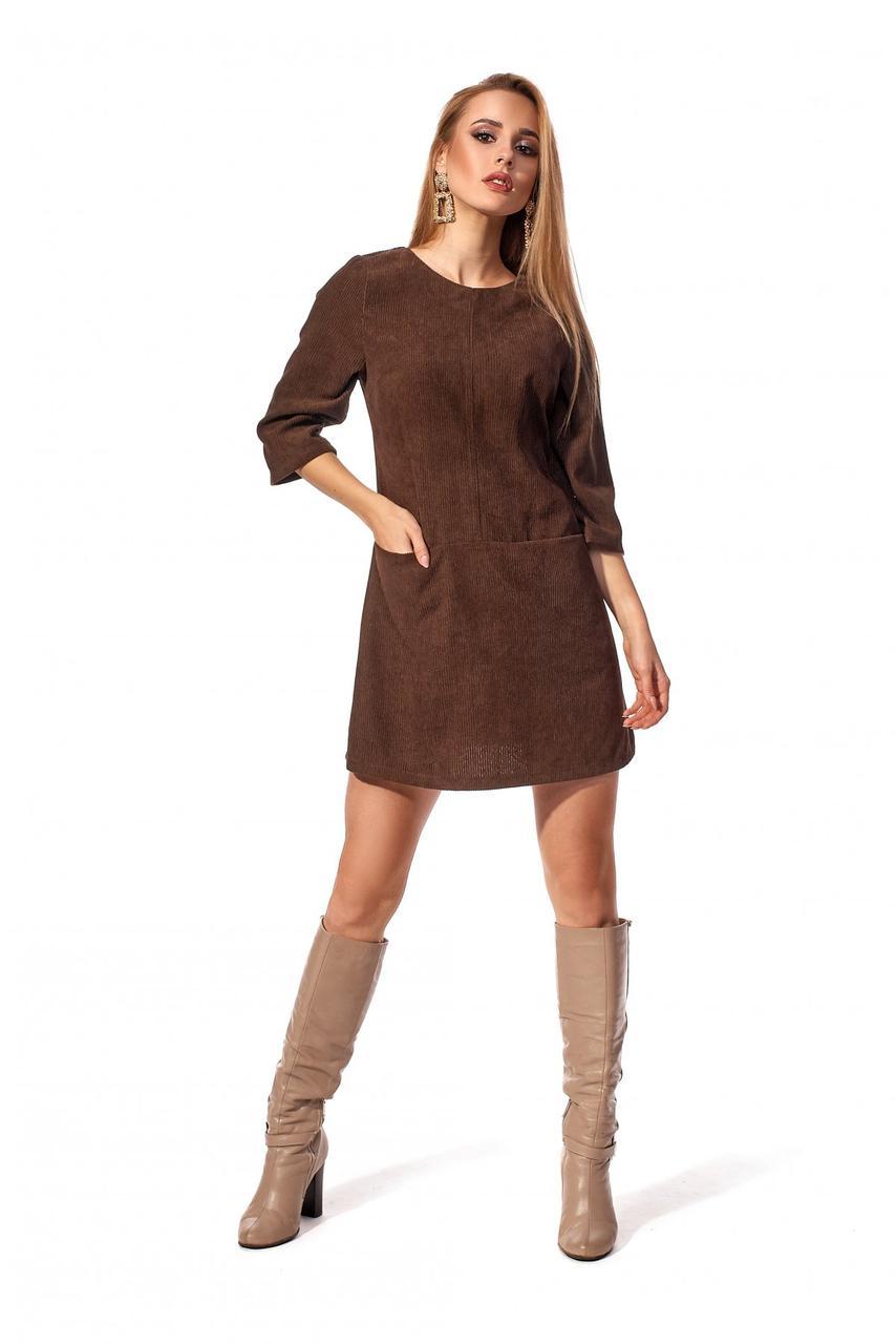 Короткое женское платье цвета шоколад