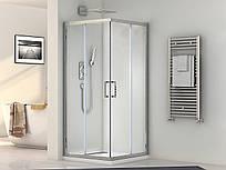 Кабина душевая прямоугольная 1902812 (80х120х190)/ стекло прозр./ профиль алюм. хром.