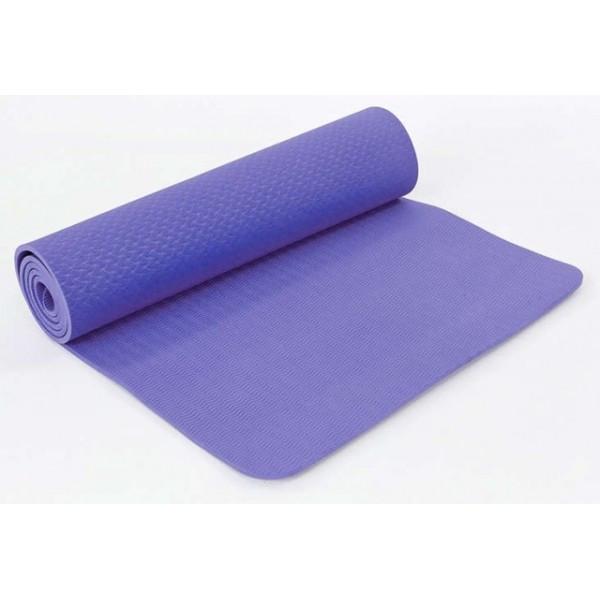Килимок для йоги та фітнесу одноколірний TPE+TC 183х61х0.6см OSPORT (MS 0615) бузковий