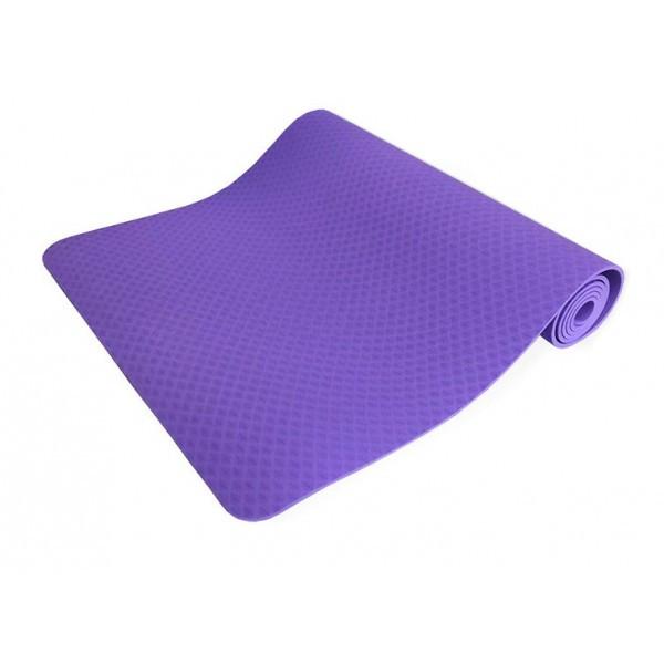 Килимок для йоги та фітнесу одноколірний TPE+TC 183х61х0.6см OSPORT (MS 0615) фіолетовий