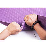 Килимок для йоги та фітнесу одноколірний TPE+TC 183х61х0.6см OSPORT (MS 0615) фіолетовий, фото 3