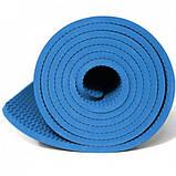 Коврик для йоги и фитнеса TPE (йога мат, каремат спортивный) OSPORT Yoga ECO Pro 6мм (OF-0082) Голубой, фото 2