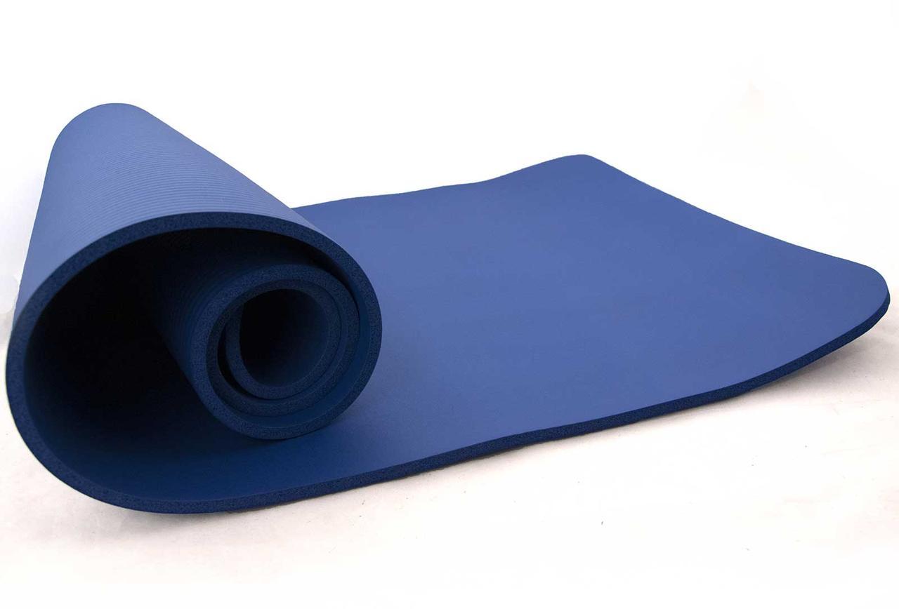 Коврик-Мат для йоги и фитнеса из вспененного каучука OSPORT NBR 183х79см толщина 1см (FI-0111) Синий
