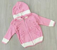 Кофта детская полушерсть розовый 0-1, 1-2, 2-3 года