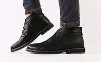 Ботинки Hilfiger мужские зимние черные из натуральной кожи, фото 1
