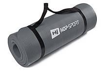 Килимок-Мат для фітнесу з спіненого каучуку Hop-Sport 1.5 см (HS-4264-1,5) Сірий