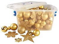 F1-00432, Набор новогодних игрушек на елку с гирляндой, 100 ед., , золотой