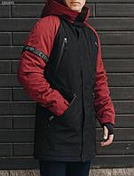 Мужская черная зимняя парка стаф / Чоловіча зимова парка Staff look black QBS0001
