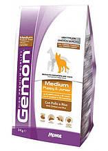 Gemon DOG Medium Puppy & Junior для щенков собак средних пород курица с рисом  15кг