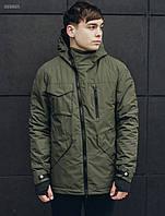 Осенняя мужская куртка Staff haki asymmetry DSS0025
