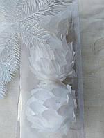 Новогодние украшения - цветы белого цветка из ткани, диам. 6 см., 3 шт., 90 гр.