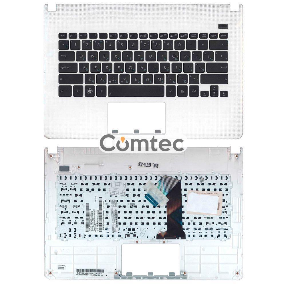 Клавиатура для ноутбука Asus (X301A) черный, с топ панелью (белый), Русская