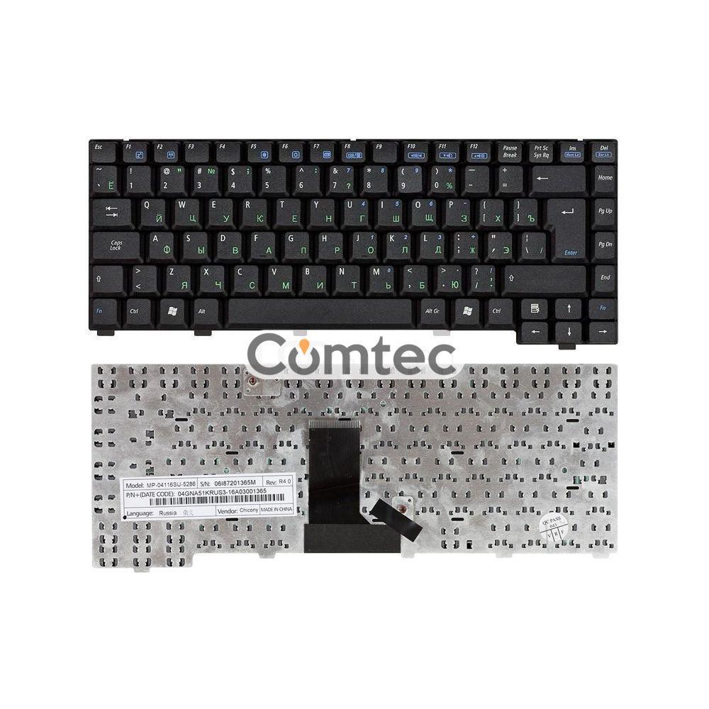 Клавиатура для ноутбука Asus EEE PC (A6) черный, Русская (вертикальный энтер)