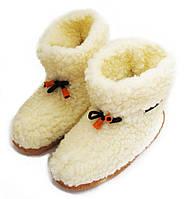 Чуни мужские из шерсти мериносовой овчины белые со шнурками