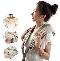 Вибро массажер для всего тела 3DWellneo CervicalMassage Shawls здоровье. 4 в 1, шиацу, серый