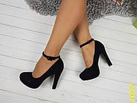 Туфли с застежкой на устойчивом каблуке черные в замше