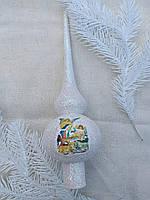 Елочная верхушка с изображением рождения Иисуса Христа, пластик, выс. 25 см., 40/30 (цена за 1 шт. + 10 гр.)