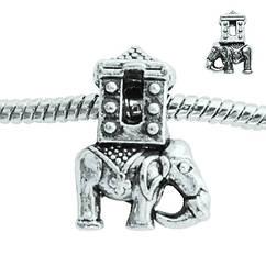 Намистина Шарм Слон з Наметом Металева Колір: Срібло, Розм 20*15*8 мм., Отвр. 5 мм Намистина в стилі Пандора