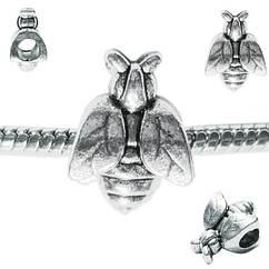Намистина Шарм Бджола Металева Колір: Срібло, Розм 15*11*8 мм., Отвр. 5 мм Намистина в стилі Пандора