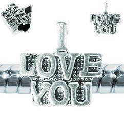 Намистина Шарм I Love You, Металева Колір: Срібло, Розм 14*13*8 мм., Отвр. 5 мм Намистина в стилі Пандора