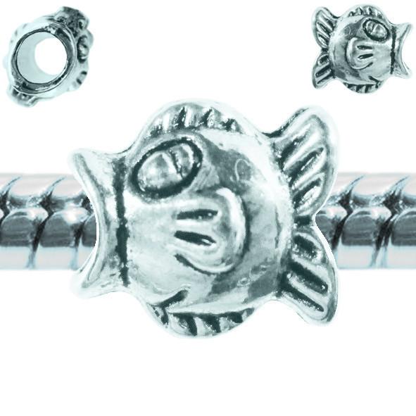 Бусина Шарм Рыба, Металлическая, Цвет: Серебро, Размер: 12*14*9 мм., Отверстие 5 мм. Бусина в стиле Пандора